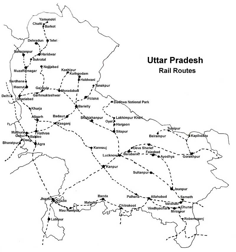 Map Up.Map Railway Routes Map Of Uttar Pradesh Bundelkhand In