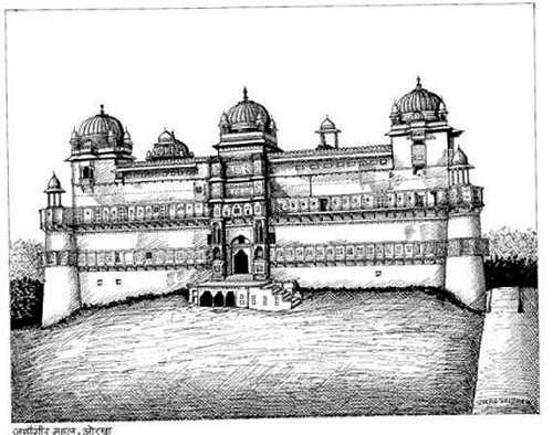 Jahangir-Mahal-Orchha-Sketch