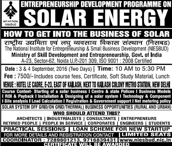 Solar Energy Course for Farmer Entrepreneurs by NIESBUD