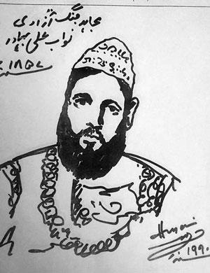 ali-bahadur-banda-nawab-sketch-m-f-husain.jpg (300×390)